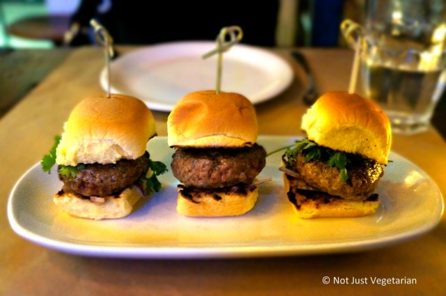 Spiced lamb burger bites with sumac aioli, cilantro and sliced red onion at Willow Road NYC