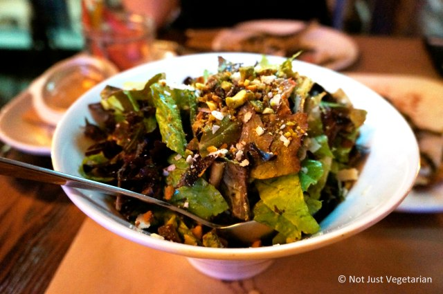 Baby Greens salad with pistachios and smoked pecorino at Willow Road NYC