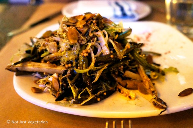 Charred (string) bean salad with pepitas, mustard, and smoked paprika at Willow Road NYC