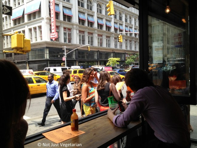 Line of guests outside Tres Carnes NYC