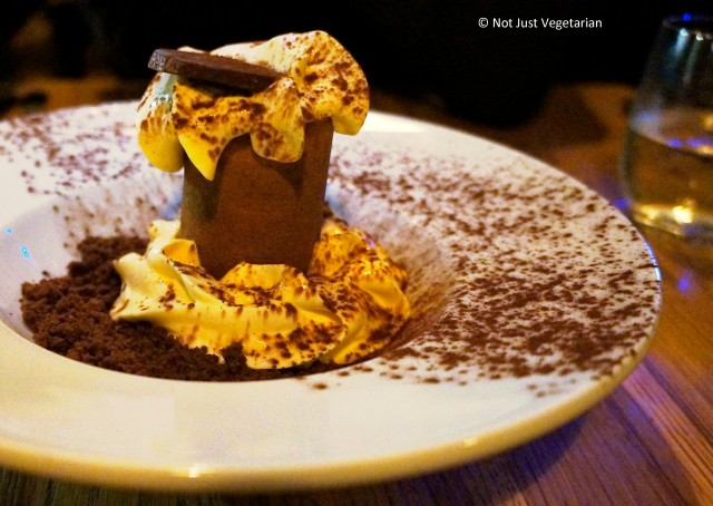 Chocolate and caramel foam at Goat in Chelsea, in London