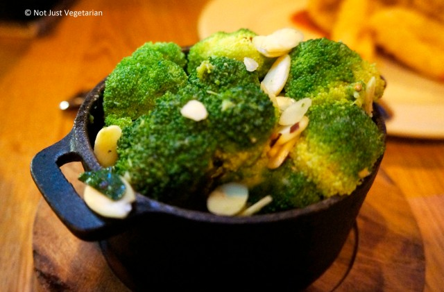 Broccoli with garlic, chilies, and almonds at Goat in Chelsea, London