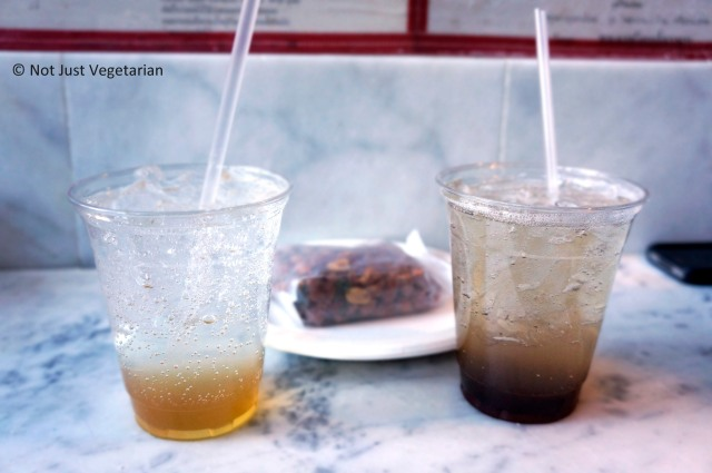 Pok Pok Som Drinking vinegars (Honey - Left, and Tamarind - Right) at Pok Pok Phat Thai in NYC