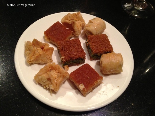 Mini baklava platter served on-the-house at Ranoush Juice in High Street Kensington in London
