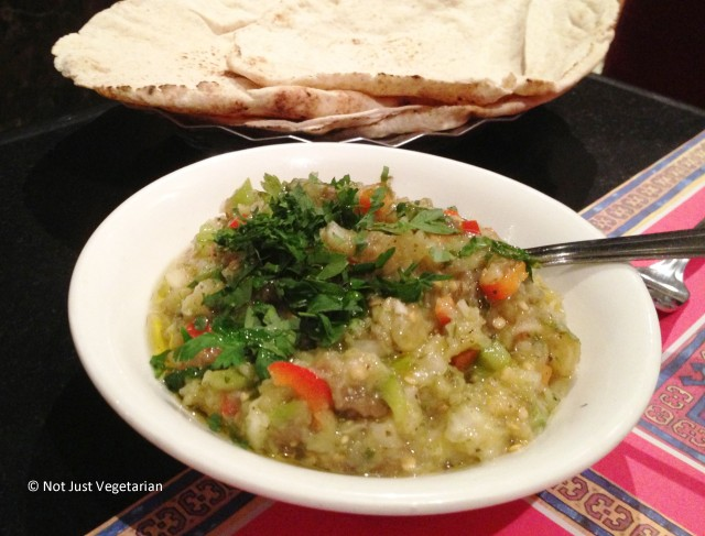Moutabal baba ghanouj (mashed eggplant) at Ranoush Juice in High Street Kensington in London