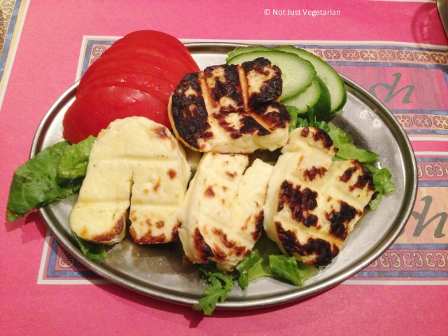 Grilled (or fried?) Halloumi cheese at Ranoush Juice in High Street Kensington in London