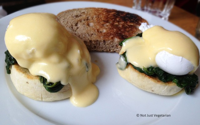 Eggs Florentine - poached eggs on English Muffins, and spinach at Tom's Kitchen in Chelsea, London