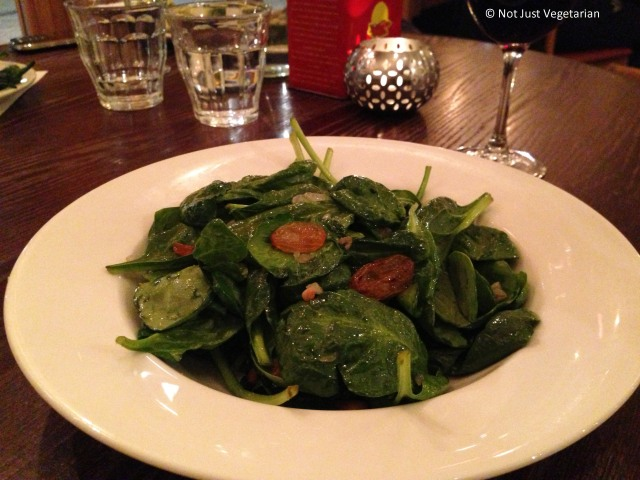 Catalan spinach lightly wilted with pinenuts and raisins at Casa Brindisa in London
