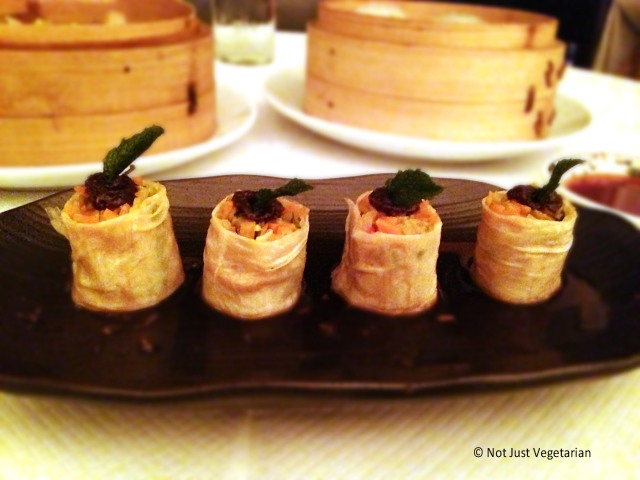 Vegetable Yuba Roll with Chilli Jam at E & O in Notting Hill London