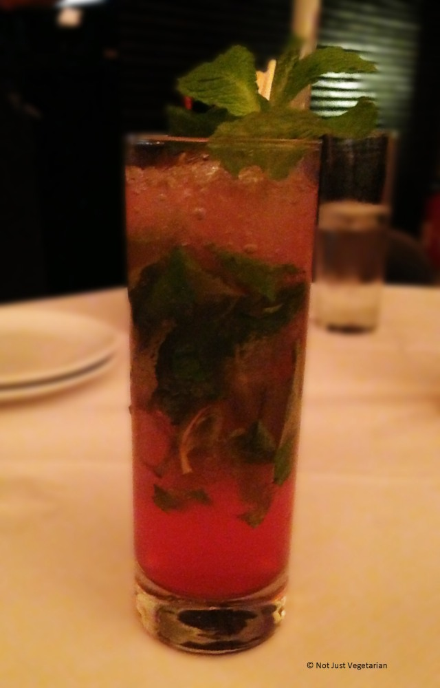 """Shanghai breeze"" - with vodka, lemon juice and mint over crushed ice and cranberry juice at E & O in Notting Hill London"