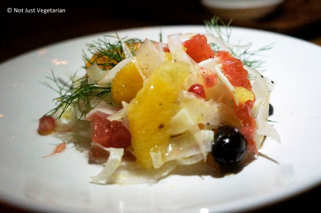 Winter citrus salad with grape fruit, clementine and navel orange (?) and dill at L'Apicio in NYC