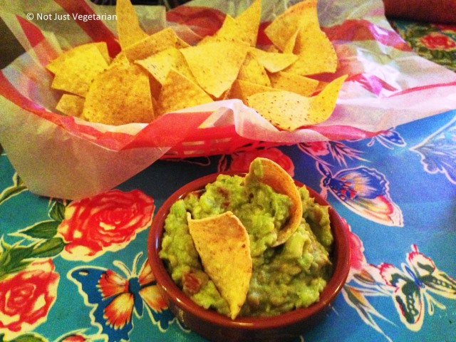 Guacamole with tortilla chips at El Camion in Soho, London