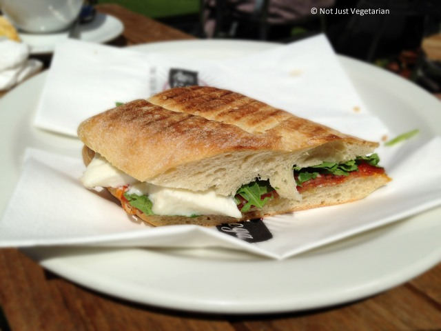 Panini with mozarella,sapicy salami and rocket at La Bottega in South Kensington in London