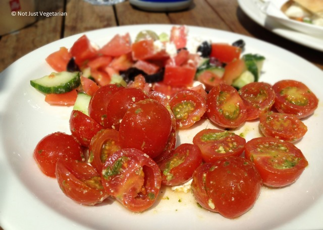 Tomato salad in pesto sauce at La Bottega in South Kensington, London