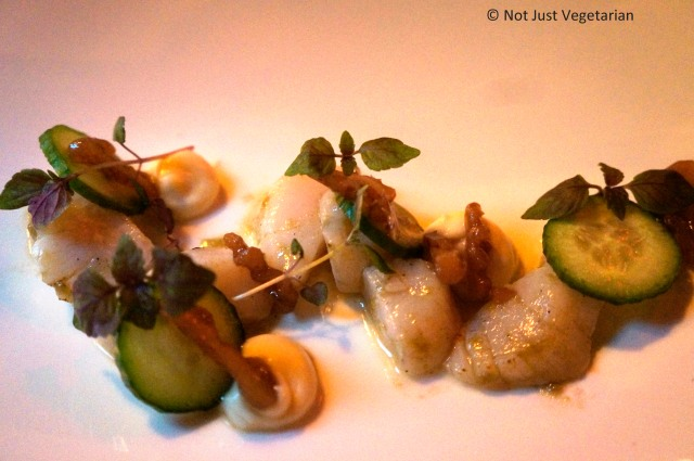 Diver scallops with cucumber, walnut and cauliflower at Pearl & Ash NYC