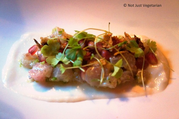 Fluke with pomegranate, sunchoke and kaffir lime at Pearl & Ash NYC