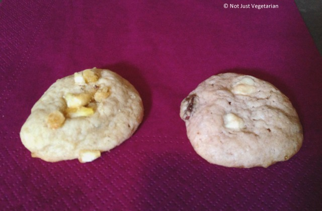 Vegan cookies from Pipernilli; Banana Chiffon on left, and Dainty Dots on Right