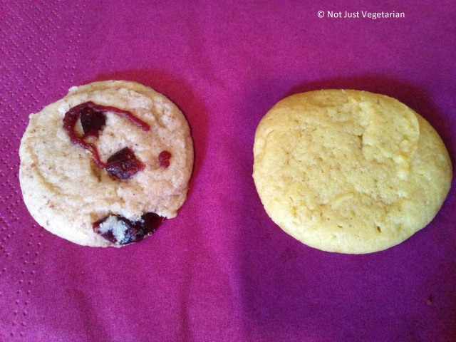Vegan cookies from Pipernilli; Cranberry Glitz on left, and Pumpkin Spice on Right