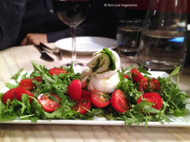 Burratina - fresh burrata served with rocket, cherry tomatoes, basil and olive oil - at Rossopomodoro on Fulham Road, London