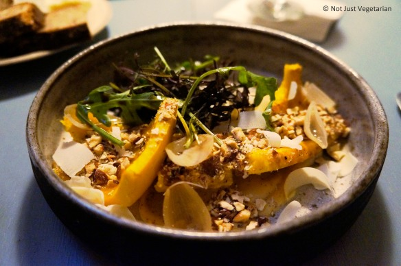 Delicata Squash with autumn greens,brown butter and goat cheese at Skál in NYC