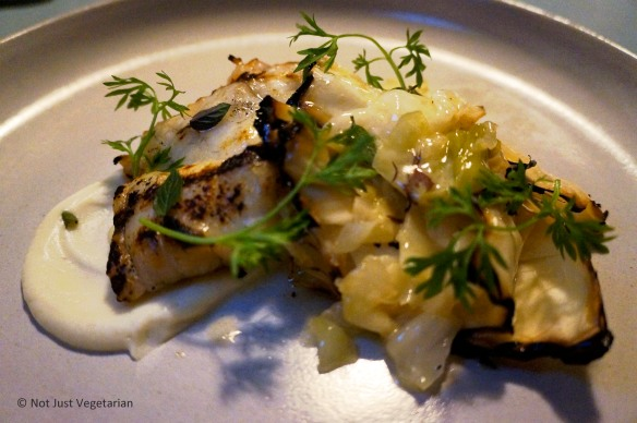 Grilled monkfish with cabbage, cauliflower, and peppermint at Skál in NYV