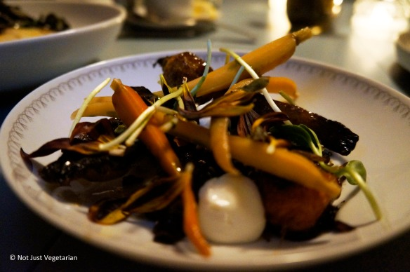 Heirloom carrot salad with burnt honey, yogurt and sunflowers at Skál in NYC