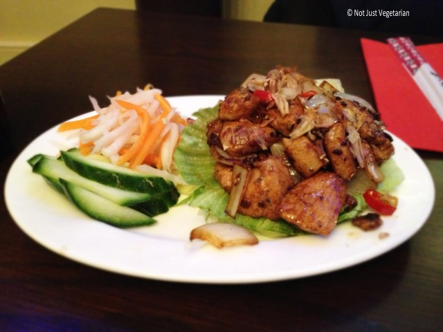 Luc Lac shaking Chicken (quick fried chicken breast cubes with pepper and garlic) at Com Viet in London