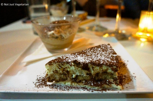 TIramisu served with a capuccino gelato at Giano NYC