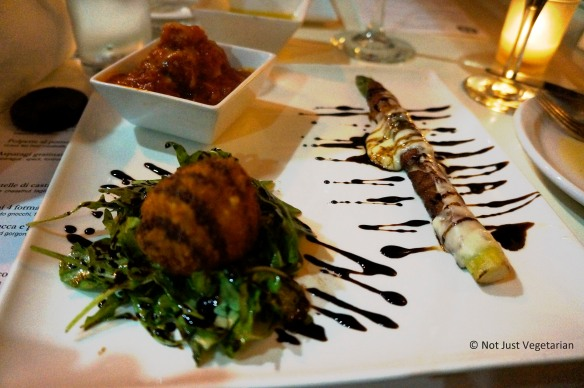 Bottom left: Tuna and ricotta croquette with arugula salad and balsamic reduction at Giano NYC