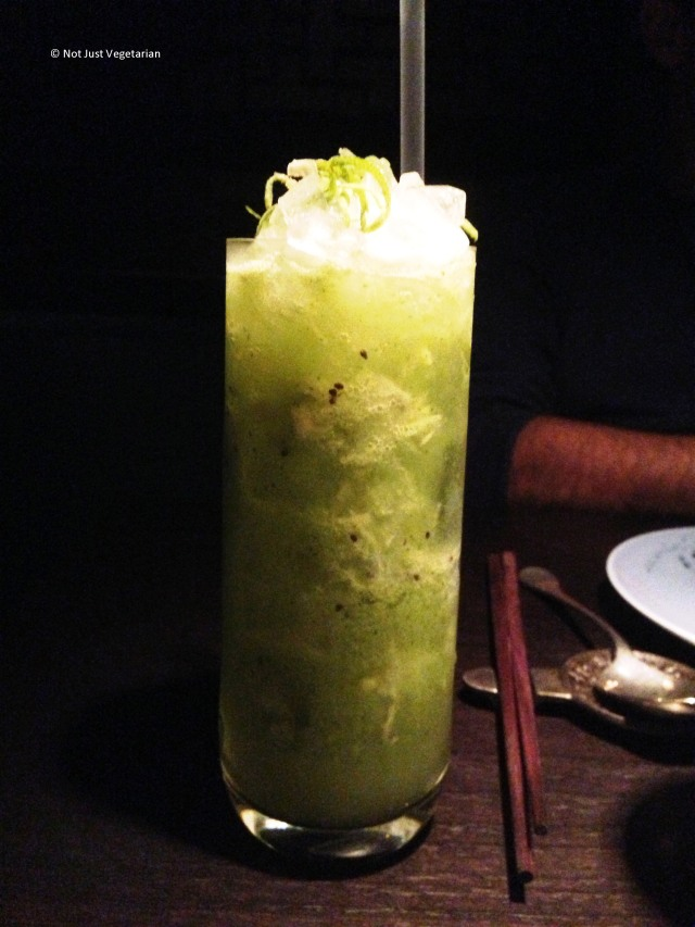 Washing potatoes - cocktail of kiwi fruit, ginger, coriander, lychee and apple juice - at Hakkasan Mayfair in London