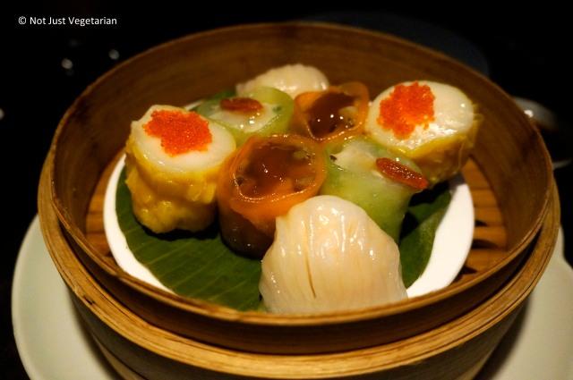 Vegetarian dim sum platter (crystal dumpling, vegetable shumai, yeam bean and shitake dumpling, and vegetable bean curd roll) at Hakkasan Mayfair in London