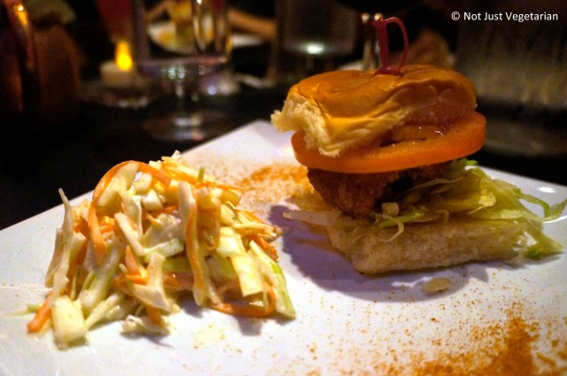 Shrimp po' boy served on a sweet Hawaiian roll at Masq restaurant and lounge, NYC