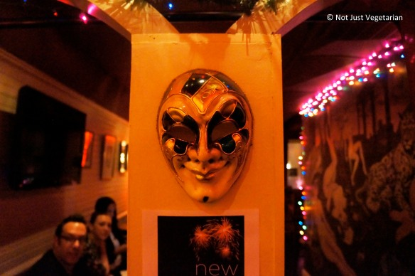 Handpainted mask at Masq restaurant and lounge NYC