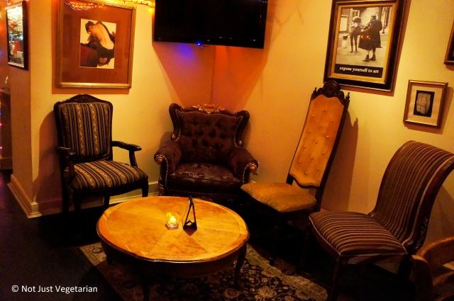 Inside Masq restaurant and lounge NYC