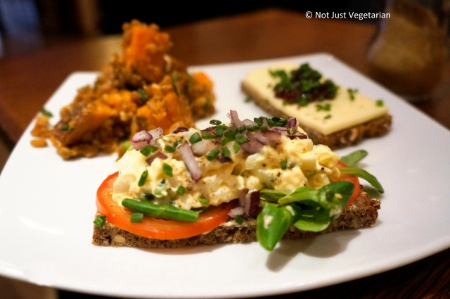 Egg salad with watercress, red onions and chives in bread at Scandinavian Kitchen in London