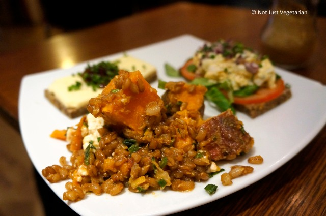 Sweet potato saladwith wheat berries and tarragon at Scandinavian Kitchen in London