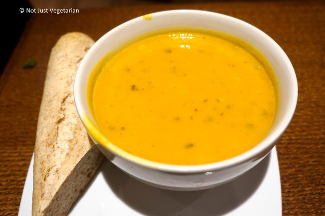 Carrot and Butternut Squash soup at Scandinavian Kitchen in London