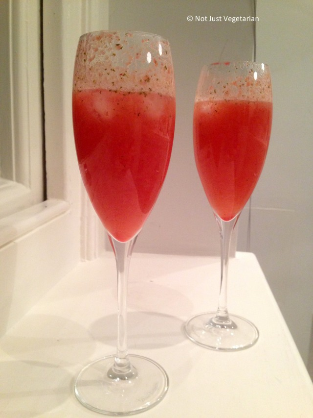 Raspberry mint bellinis