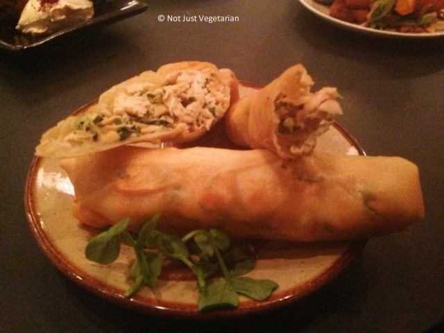 Spring roll of Roast chicken, ginger, coriander and chilli with a tamarind aioli at Kopapa in London