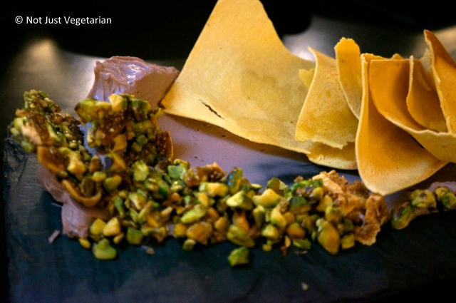 Pub cheese with pistachio and white fog and crisps at Alder NYC