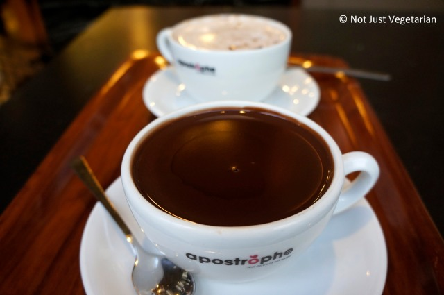Thick, dark, decadent hot chocolate at Apostrophe in London