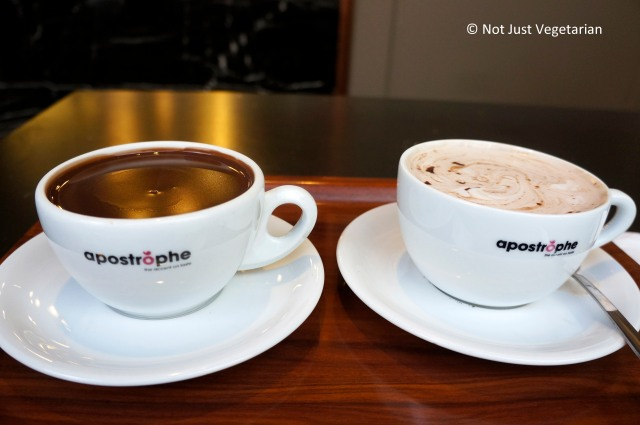 Thick dark hot chocolate and milky hot chocolate  at Apostrophe in London