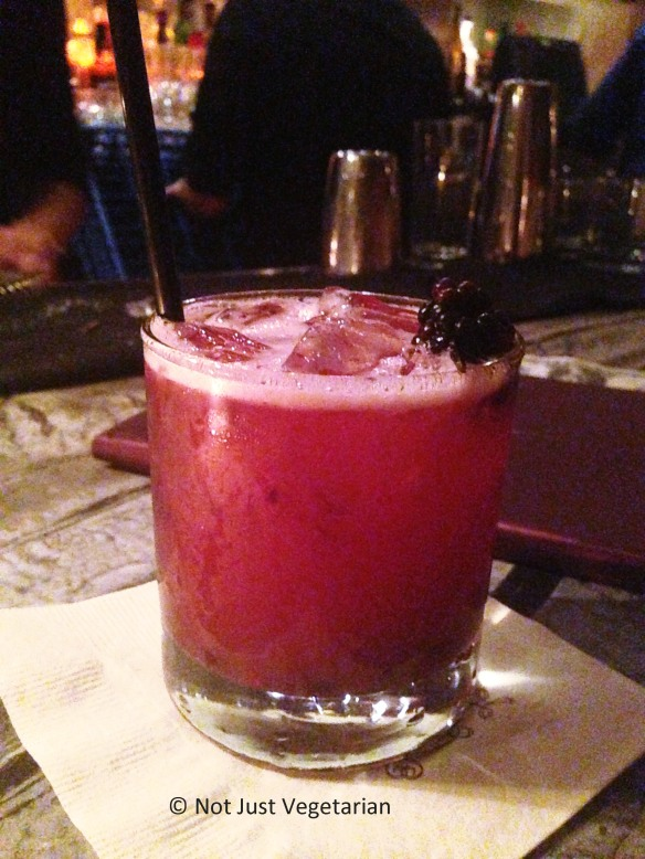 """The  ODB - Old Dirty Bramble (Milagro Reposada tequila, smoked blackberries, honey, ginger juice, and lemon at Beauty & Essex in NYC"