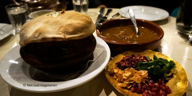 Lamb biryani (sealed with dough) at Dock Kitchen in London