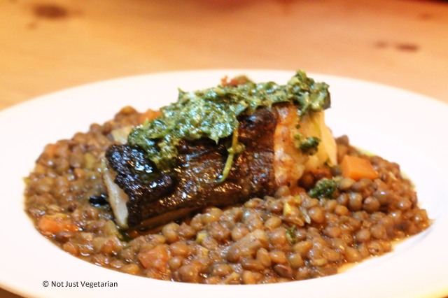 Cod on puy lentils at ffiona's in London