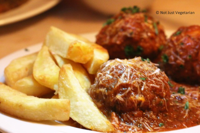 Chicken meat balls with fries at ffiona's in London