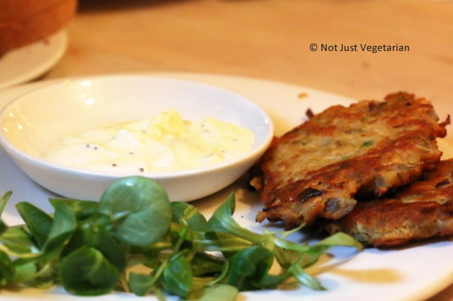 Parsnip and green chilli fritters with spiced yoghurt at ffiona's in London