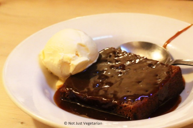 Sticky toffee pudding with caramel and ice cream at ffiona's in London