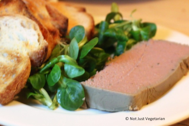Home-made duck pate with toast at ffiona's in London