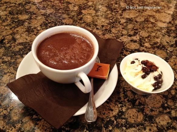 Rich, dark, hot chocolate  at La Maison du Chocolat in NYC